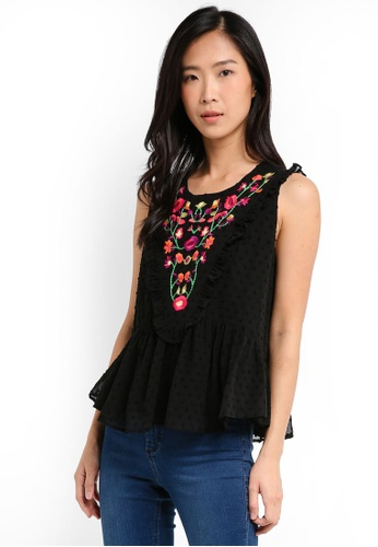 ZALORA black Embroidered Ruffle Top D47F0AA8B5C345GS_1
