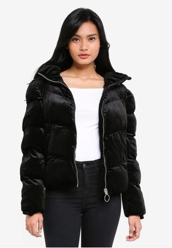 Supre black Velour Puffa Jacket EB4A5AAF6DA5E8GS_1