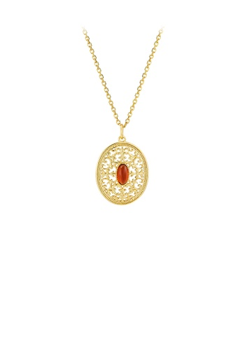 Glamorousky silver 925 Sterling Silver Plated Gold Elegant Palace Style Hollow Pattern Geometric Oval Pendant with Necklace 9FA86ACCCB23ACGS_1