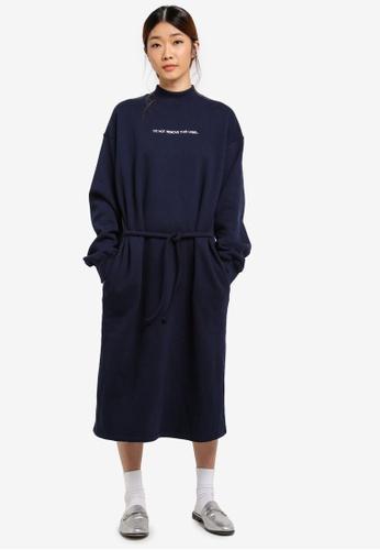 Stylenanda navy Contrast Lettering Sweat Dress C2291AA4A65E4DGS_1