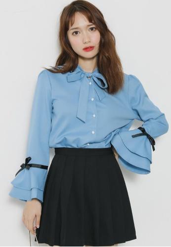 Shopsfashion blue Tie a Bow Collar Blouse in Blue SH656AA59NEMSG_1