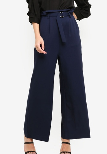 ZALORA navy Paper Bag Wide Leg Pants 68CF5AA6088CD0GS_1