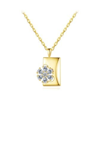 Glamorousky white Fashion and Elegant Plated Gold Flower Geometric Square Pendant with Cubic Zirconia and Necklace 23A48AC2919BD0GS_1