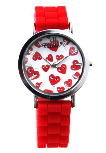 World of Watches white and red Caite Heart Rain Silicon Stap Watch 3078L WO566AC97CRMPH_1