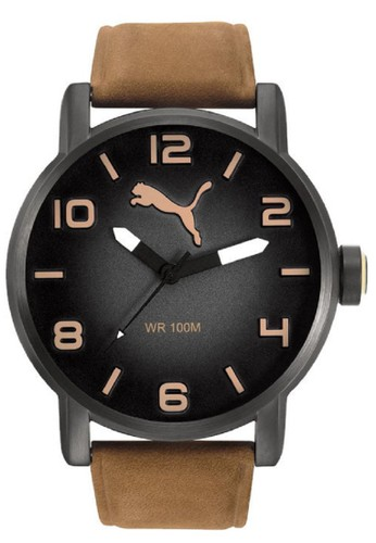 PUMA Watches brown Puma Jam Tangan Pria Coklat Hitam Leather Strap  PU104141004 PU245AC79MGEID 1 5826cf33e8