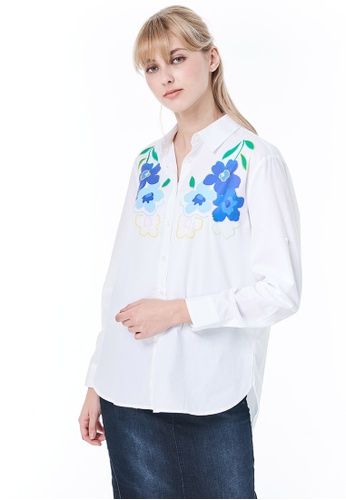 United Colors of Benetton white Shirt with Embroidery and Print. D2073AA8287DC5GS_1