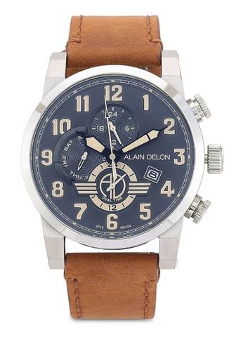 Alain Delon brown Alain Delon AD404-1344C Brown Leather Watch AL308AC0RBDZMY_1