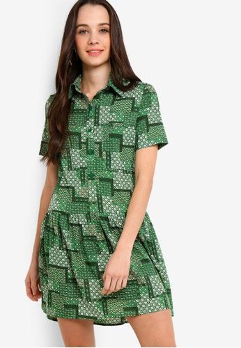 Something Borrowed 白色 and 綠色 短袖襯衫洋裝 9FE1DAA8D282DCGS_1