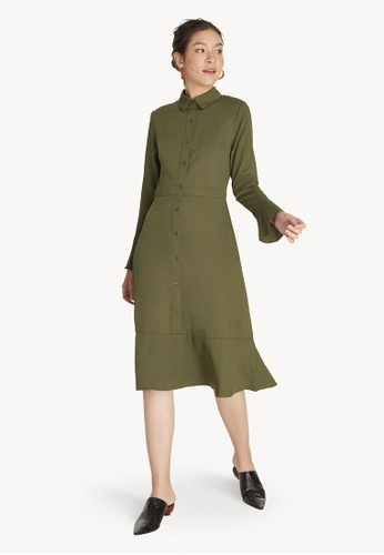 493c3afbbe2 Buy Pomelo Midi Flared Shirt Dress - Olive Online on ZALORA Singapore