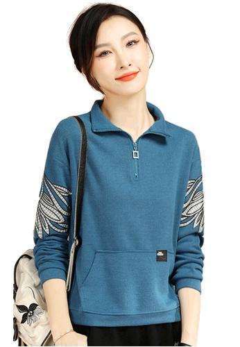 A-IN GIRLS blue Fashion Lapel Printed Sweatshirt A2C5CAA3A73F42GS_1