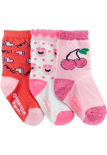 Oshkosh B'gosh pink OSH KOSH Girl 3 Pack Pink Neon Crew Socks B1493KA43A04DFGS_1