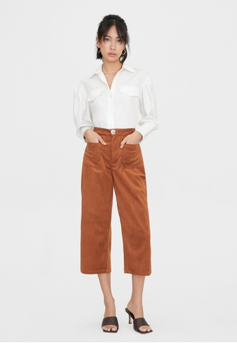 Pomelo brown Corduroy Front Pocket Culottes - Brown 3369FAA201B708GS_1