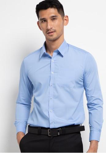 LORIENT blue Plain Long Sleeves Slim Fit Shirt Tom 9D95DAAC129270GS_1