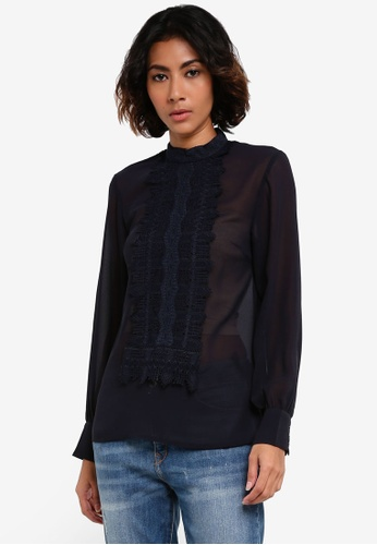 TOPSHOP navy Lace Panel Top TO412AA0RSMTMY_1