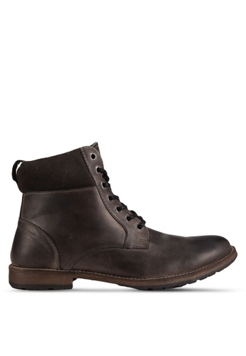 Topman grey Grey Leather Lace Up Boots TO413SH72QVZMY_1