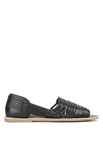 Betts black Athena Leather Huarache Flats 22813SH8796E64GS_1