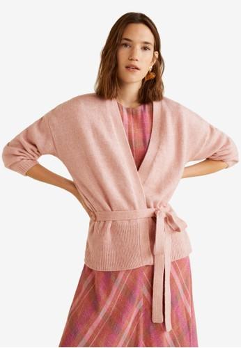MANGO pink Belt Cardigan BE2C7AAFFEC79DGS_1