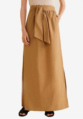Mango brown Cotton Long Skirt 0A79DAA9443180GS_1