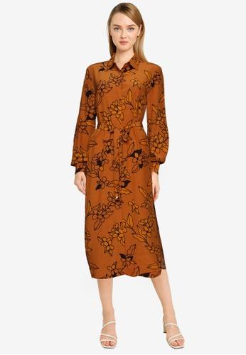 French Connection brown Cefara Drape Printed Shirt Dress BC01FAA7FF7C25GS_1