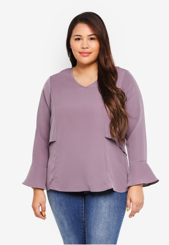 Ex'otico grey Plus Size Long Sleeve V-Neck Layer Blouse B1328AAAFBDE23GS_1