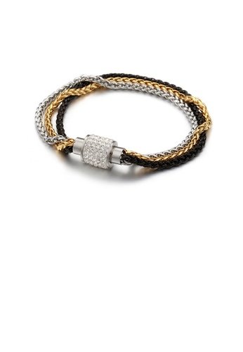 Glamorousky white Fashion Personality Plated Gold and Black Three-color Multilayer 316L Stainless Steel Bracelet with Cubic Zirconia 8B294AC4958D86GS_1