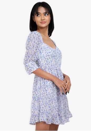 ZALORA BASICS multi Puff Sleeve Milkmaid Dress 543CAAA0437AC4GS_1