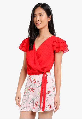 Miss Selfridge red Red Layer Sleeve Wrap Top MI665AA0SISWMY_1
