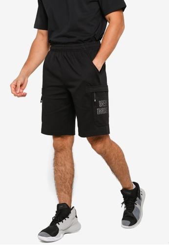 361° black Basketball Series Knit Knee Shorts 359ECAA16DC3B2GS_1