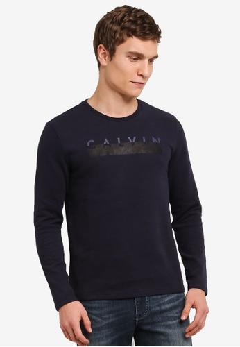 Calvin Klein blue and navy Double Knit CK Logo Crew Neck Tee - Calvin Klein Jeans CA221AA0S9CFMY_1