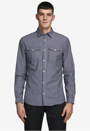 Jack & Jones navy Dobby Shirt 89852AA3B67457GS_1