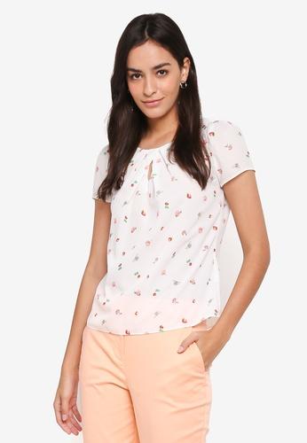 Dorothy Perkins white Billie & Blossoms Petite Strawberry Print Top 92560AA9F9E082GS_1