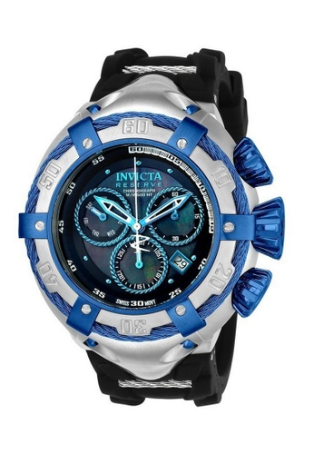 INVICTA blue Invicta Bolt Men 52mm Case Steel, Black Stainless Steel, Silicone Strap Black Dial Quartz Watch 21350 IN968AC0F5CFSG_1