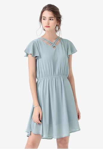 Kodz blue Flutter Sleeve Dress 93750AA11AA79BGS_1