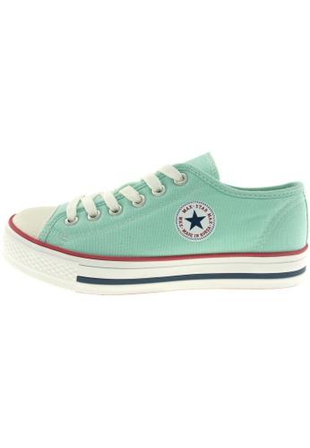 Maxstar 綠色 新款韩国鞋C1-6H時尚帆布布混合女浅蓝色 US Women Size MA345SH92GXJTW_1