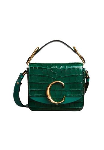 Chloé green Chloe Mini Chloé C Crocodile Embossed Crossbody Bag in Woodsy Green 89438AC13569E5GS_1