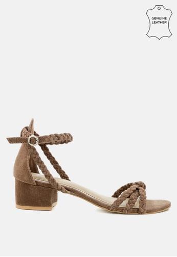 RAG & CO 褐色 编织麂皮粗跟凉鞋 57841SHFE8B988GS_1