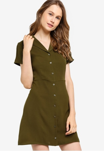 ZALORA BASICS green Revere Collar Button Through Shirt Dress C1623AAAE26531GS_1