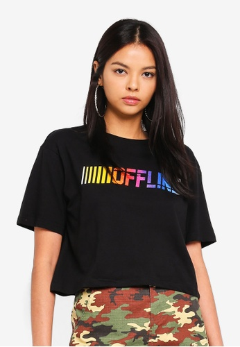 Factorie black Graphic Boxy Tee A7837AA469D9A0GS_1