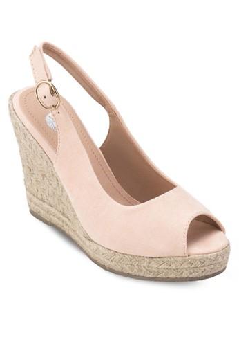 Puresprit outlet 高雄d 魚口繞踝楔型跟鞋, 女鞋, 鞋