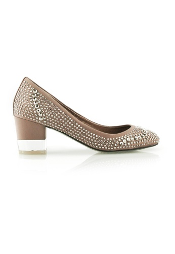 Gripz beige Gripz Dream Round Toe Crystal Studded Block Heels 09B1DSH7B48B5FGS_1