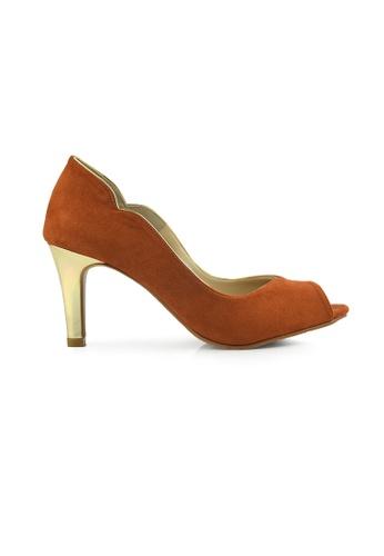 SHINE brown Cut Out Peep Toe Heels SH554SH0FVIWSG_1