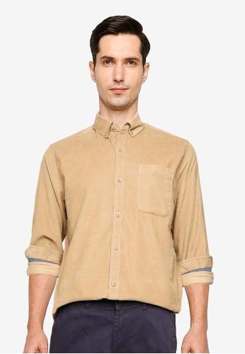 !Solid beige Juan Long Sleeve Corduroy Shirt 8C5BCAA958422CGS_1