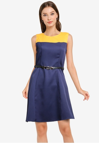 ZALORA WORK multi Colourblock A-Line Dress With Belt 06EA5AA3644351GS_1