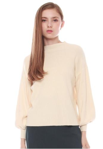 JOVET beige Oversized Knit Top F90A7AA691C537GS_1