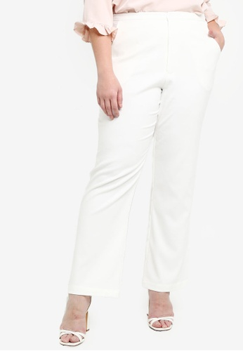Ex'otico white Basic Stretch Trousers 03006AADD3616FGS_1