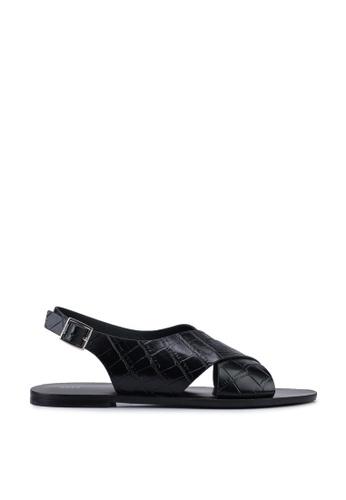 nose 黑色 Criss Cross Mock Croco Flat Sandals 8830CSH0FF9E73GS_1