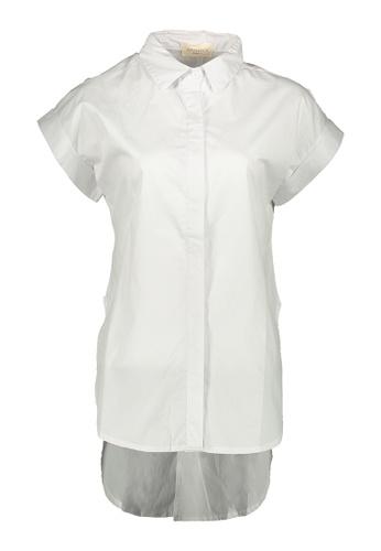 Kashieca white Button Down Short Sleeve Blouse 3438DAABC4E94EGS_1
