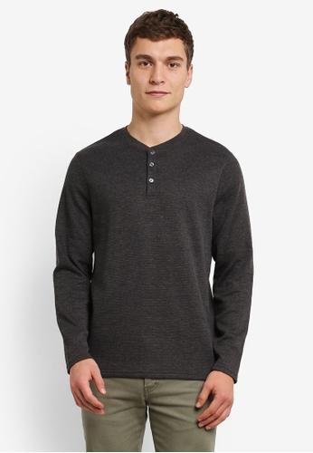 Burton Menswear London grey Charcoal Waffle Grandad T-Shirt BU964AA0RWMDMY_1