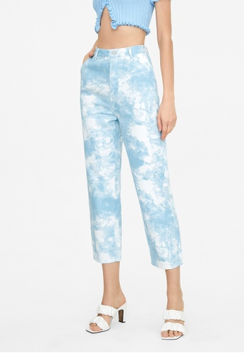 Pomelo blue Abstract Print Straight Jeans - Blue D90B1AA17D6221GS_1
