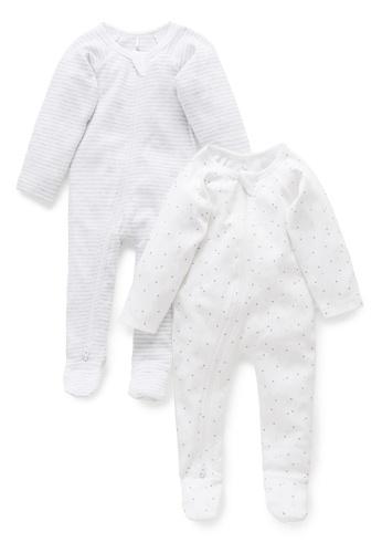 Purebaby grey 2 Pack Zip Growsuit 1851AKA941AC7EGS_1